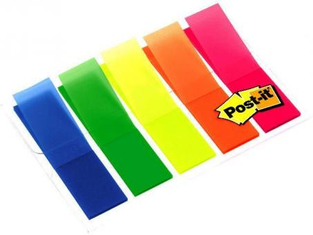 Post-it Haftstreifen Index Leuchtfarben, 5 Leuchtfarben mit je 20 Streifen im Etui