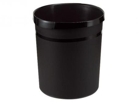 HAN Papierkorb GRIP, 18 Liter, rund, 2 Griffmulden, extra stabil, schwarz