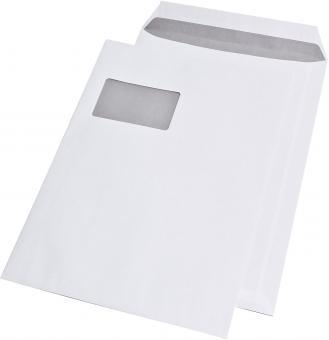 Versandtaschen C4 , mit Fenster, haftklebend, 100 g/qm, weiß, 250 Stück