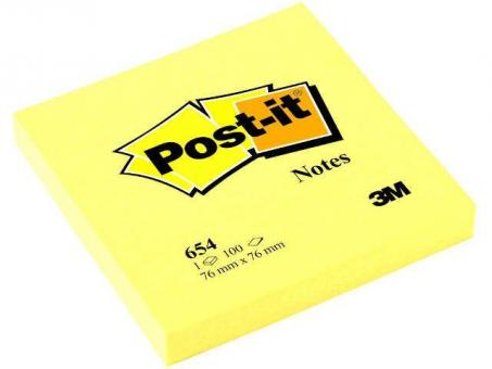 Post-it 654 Haftnotizen - kanariengelb - 76x76 mm