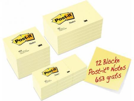 Post-it Haftnotiz Sparset: 6x 654 + 6x 655 + 12x 653 gratis