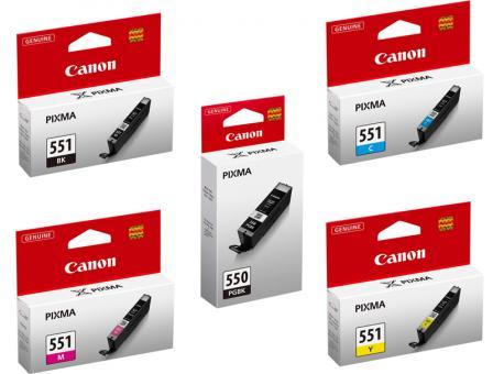 5x Original Canon Druckerpatronen im Set PGI-550 CLI-551