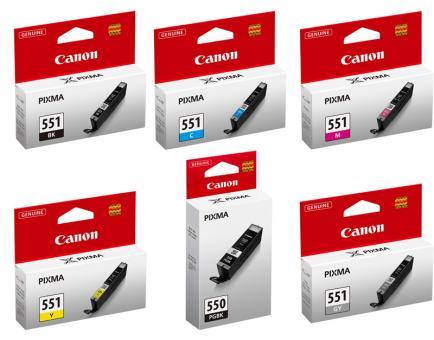 6x Original Canon Druckerpatronen PGI-550 CLI-551 im Set