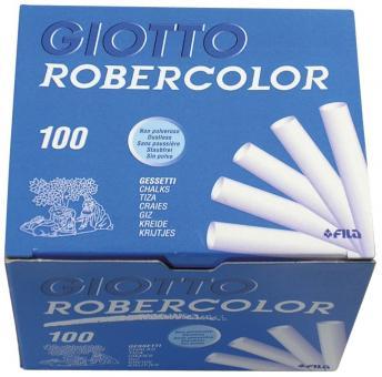 Tafelkreide Robercolor - rund, weiß, Länge 80 mm, 100 Stück