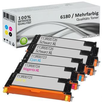 5x Alternativ Xerox Toner 6180 Mehrfarbig Set