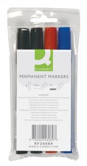 Permanentmarker, ca. 2 - 5 mm, 4-er Etui blau, rot, 2x schwarz
