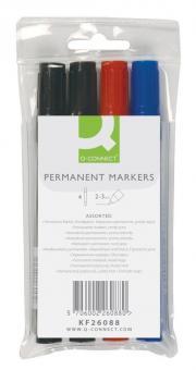 Permanentmarker, ca. 2 mm, 4-er Etui blau, rot, 2 x schwarz
