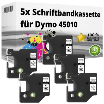 5x Alternativ Dymo D1 Etiketten Label Cassette 45010 12mm x 7m