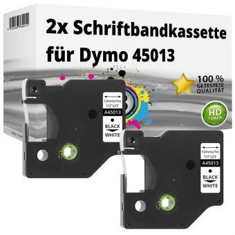 2x Alternativ Dymo D1 Etiketten Label Cassette 45013 12mm x 7m