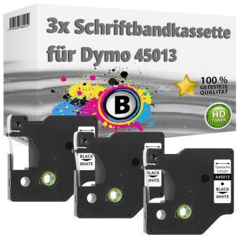 3x Alternativ Dymo D1 Etiketten Label Cassette 45013 12 mm x 7 m