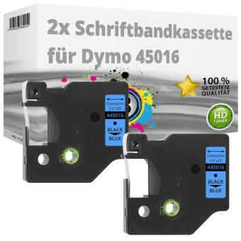 2x Alternativ Dymo D1 Etiketten Label Cassette 45016 12mm x 7m