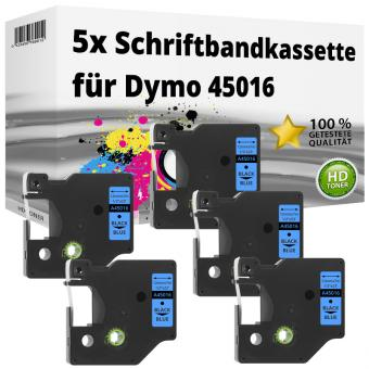 5x Alternativ Dymo D1 Etiketten Label Cassette 45016 12mm x 7m