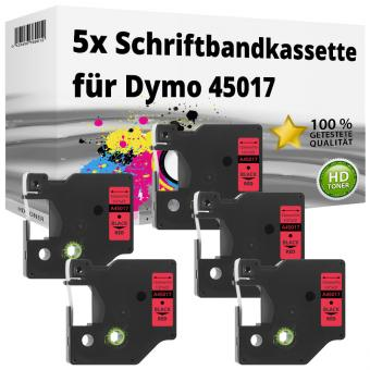 5x Alternativ Dymo D1 Etiketten Label Cassette 45017 12mm x 7m