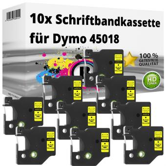 10x Alternativ Dymo D1 Etiketten Label Cassette 45018 12mm x 7m