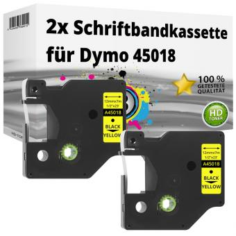 2x Alternativ Dymo D1 Etiketten Label Cassette 45018 12mm x 7m