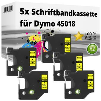 5x Alternativ Dymo D1 Etiketten Label Cassette 45018 12mm x 7m