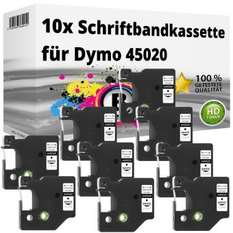 10x Alternativ Dymo D1 Etiketten Label Cassette 45020 12mm x 7m