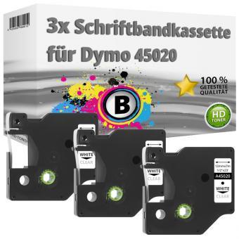 3x Alternativ Dymo D1 Etiketten Label Cassette 45020 12 mm x 7 m