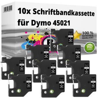 10x Alternativ Dymo D1 Etiketten Label Cassette 45021 12mm x 7m