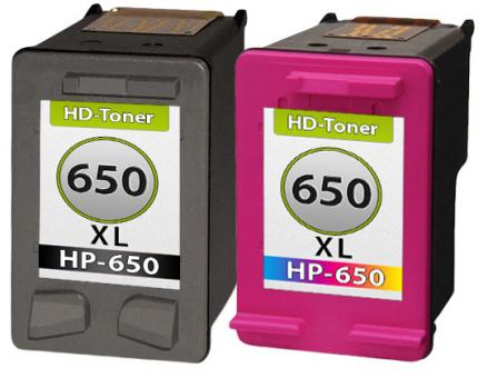 Set 2x Refill HP Patronen 650 XL Schwarz+Color   HD-Toner.de