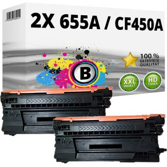 2x Alternativ HP Toner 655A / CF450A Schwarz