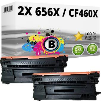 2x Alternativ HP Toner 656X / CF460X Schwarz