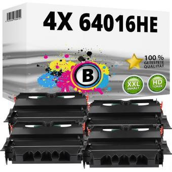 Set 4x Alternativ Lexmark Toner 64016HE T640 Schwarz