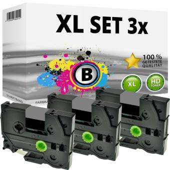 Set 3x Alternativ Brother Schriftbandkassette TZ-931 12mm