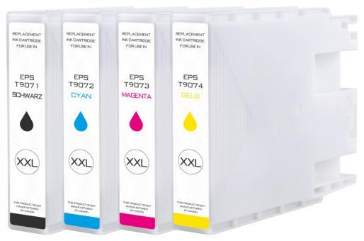 4x Alternativ Epson Patronen T9071 T9072 T9073 T9074 XXL Mehrfarbig