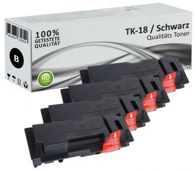 Alternativ Kyocera Toner TK-18 Schwarz 4er Sparset