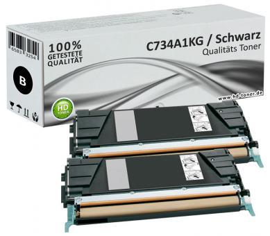 Alternativ Lexmark Toner C734A1KG Schwarz Doppelpack