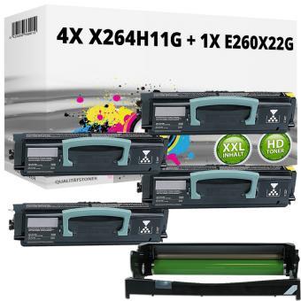Set Alternativ Lexmark Toner 4x X264H11G + Trommel E260X22G
