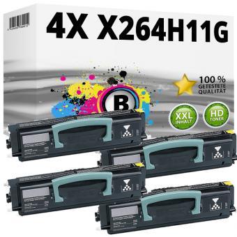 Set 4x Alternativ Lexmark Toner X264H11G Schwarz