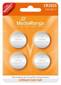 MediaRange Lithium Batterie Knopfzelle CR2025 - 4 Stück