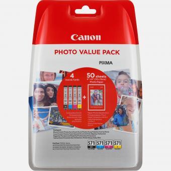 Original Canon Patronen CLI-571 Photo Value Pack + Papier
