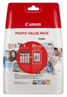 4x Original Canon Patronen im Set CLI-581 XL + Fotopapier