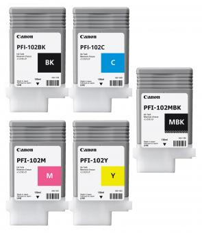 Set 5x Original Canon Tintenpatronen PFI-102