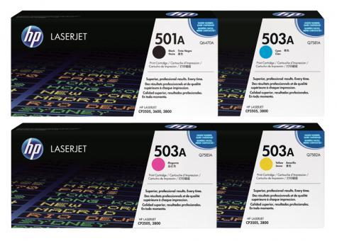 Set Original Toner 501A+503A HP Q6470+Q7581+Q7582+Q7583