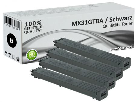 4x Alternativ Sharp Toner MX31GTBA  Schwarz