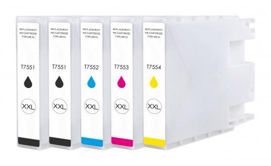 5x Alternativ Epson Druckerpatronen T7551 T7552 T7553 T7554