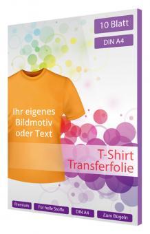T-Shirt Transfer/Bügelfolie für helle Stoffe - 10 Blatt