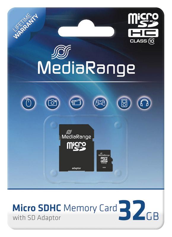 mediarange micro sdhc 32 gb karte speicherkarte mit sd. Black Bedroom Furniture Sets. Home Design Ideas