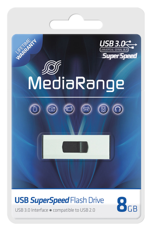 mediarange 8 gb usb stick usb 3 0 flash drive speicher. Black Bedroom Furniture Sets. Home Design Ideas