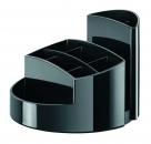 Schreibtischköcher RONDO - 9 Fächer, Gummifüße, Briefschlitz, hochglänzend, schwarz