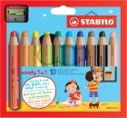 Stabilo Multitalent-Stift woody 3in1 10 Stifte + 1 Spitzer