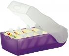 Karteibox CROCO, DIN A8, für 500 Karten, incl. 5 Stützplatten, lila-transluzent