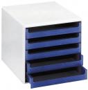MM Metzger Mendle Schubladenboxen, 5 offene Schubladen, hellgrau/blau