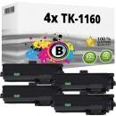 4x Alternativ Kyocera Toner TK-1160 / 1T02RY0NL0  Schwarz