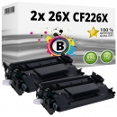2x Alternativ HP Toner 26X CF226X Schwarz