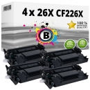 4x Alternativ HP Toner 26X CF226X Schwarz